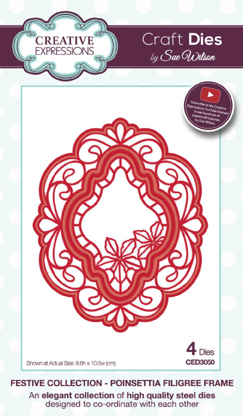 FESTIVE COLLECTION - Poinsettia Filigree Frame CED3050 by Sue Wilson